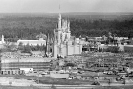 This general view shows Walt Disney World under construction near Orlando in Central Florida, on July 7, 1971.  At center is the amusement park's Cinderella Palace in the Magic Kingdom.  (AP Photo)