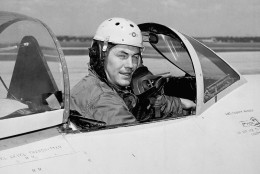 """Charles E. Yeager, 25, has flown the Air Force research plane XS-1 """"much faster than the speed of sound"""" several times, Air Secretary Symington said, June 10, 1948 in Washington. (AP Photo)"""