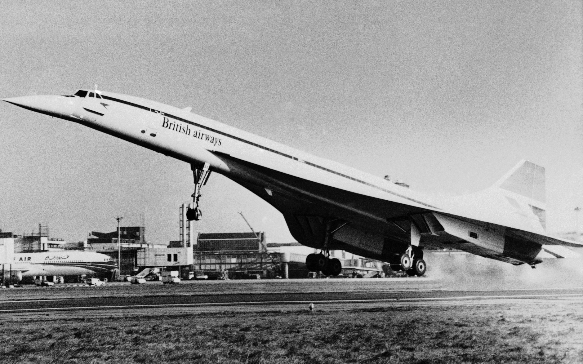 A British Airways supersonic Concorde airliner takes off from London's Heathrow Airport at 10:29 gmt, Tuesday, Nov. 22, 1977 on its inaugural scheduled passenger flight to New York's John F. Kennedy Airport. The aircraft filled with 100 passengers, set a record crossing of 3 hours 23 minutes. (AP Photo)