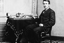 Thomas A. Edison poses with the the tin-foil phonograph, which he exhibited at the National Academy of Science in Washington and later demonstrated for the president at the White House, on April 18, 1878.  The phonograph, Edison's favorite invention, was invented on Aug. 12, 1877.  (AP Photo)
