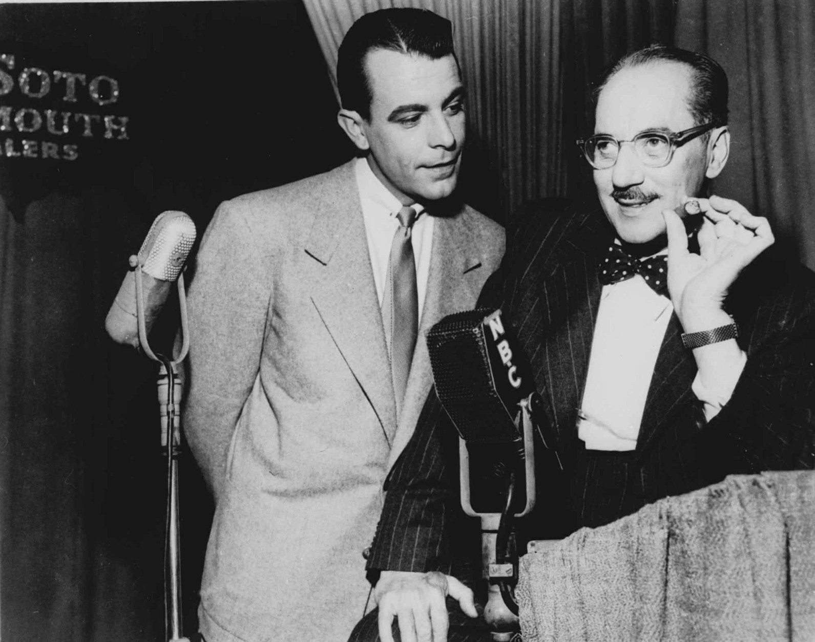 """FILE--George Fenneman is seen in character as Groucho Marx's sidekick and frequent foil on NBC's """"You Bet Your Life"""" in this undated file photo. Fenneman died last Thursday at his Los Angeles home, his wife Peggy said Wednesday, June 4, 1997.  The cause was attributed to emphysema.(AP Photo)"""