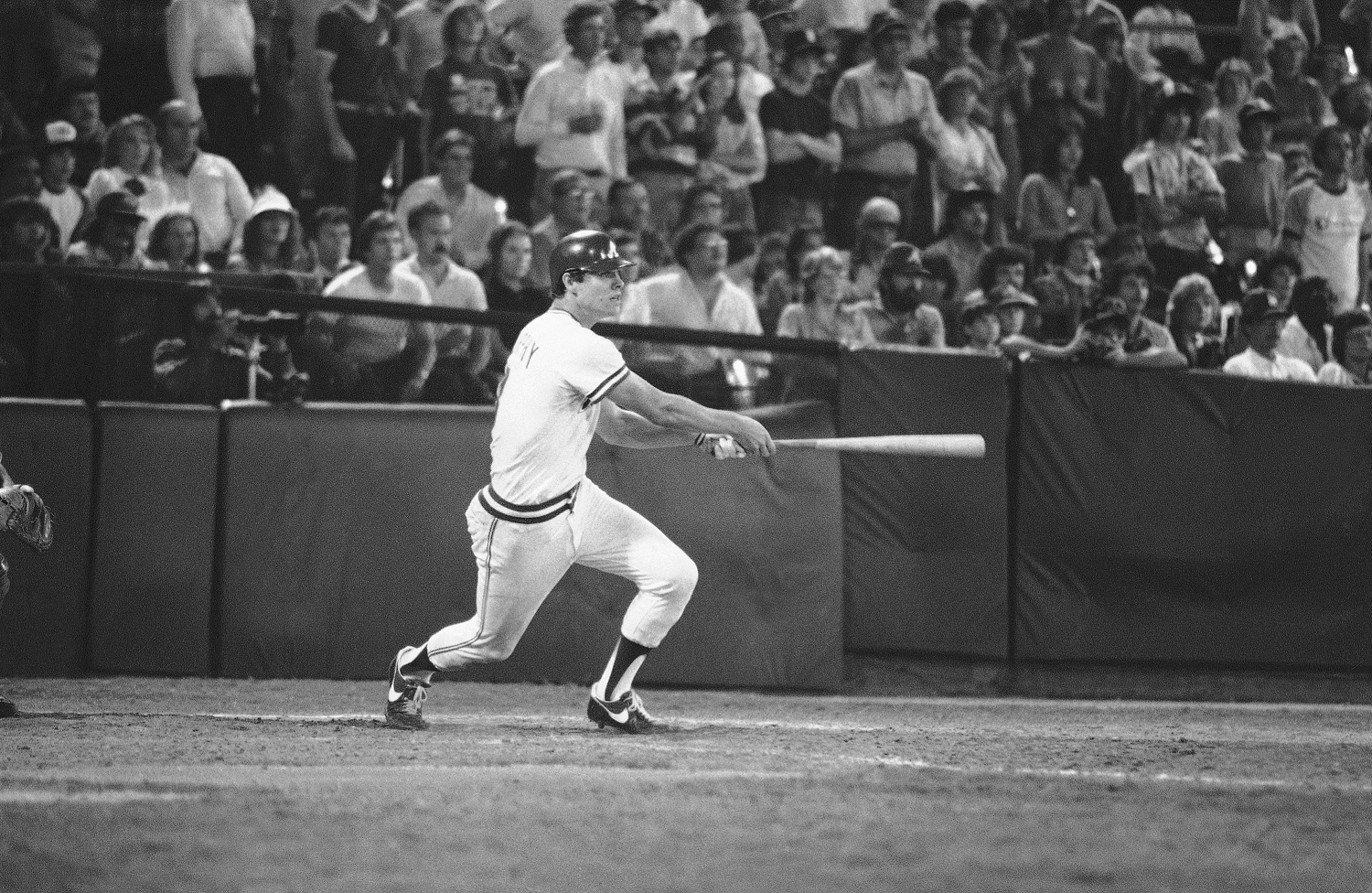 Atlanta Braves Dale Murphy (3) hits the winning home run in the bottom of the 10th inning with the bases loaded during Atlanta-Los Angeles action, Sept. 9, 1982, to give the Braves a 12-11 victory. (AP Photo/Roger Grigg)
