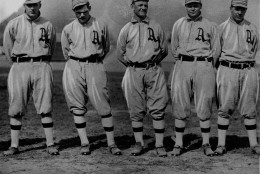 Here are some of the bulwarks of Connie Mack's team in 1913 when the Philadelphia Athletics beat the New York Giants in the World Series four games to one.  From left:  Rube Oldring, Eddie Murphy, Danny Murphy, Amos Strunk, and Jimmy Walsh. (AP Photo)