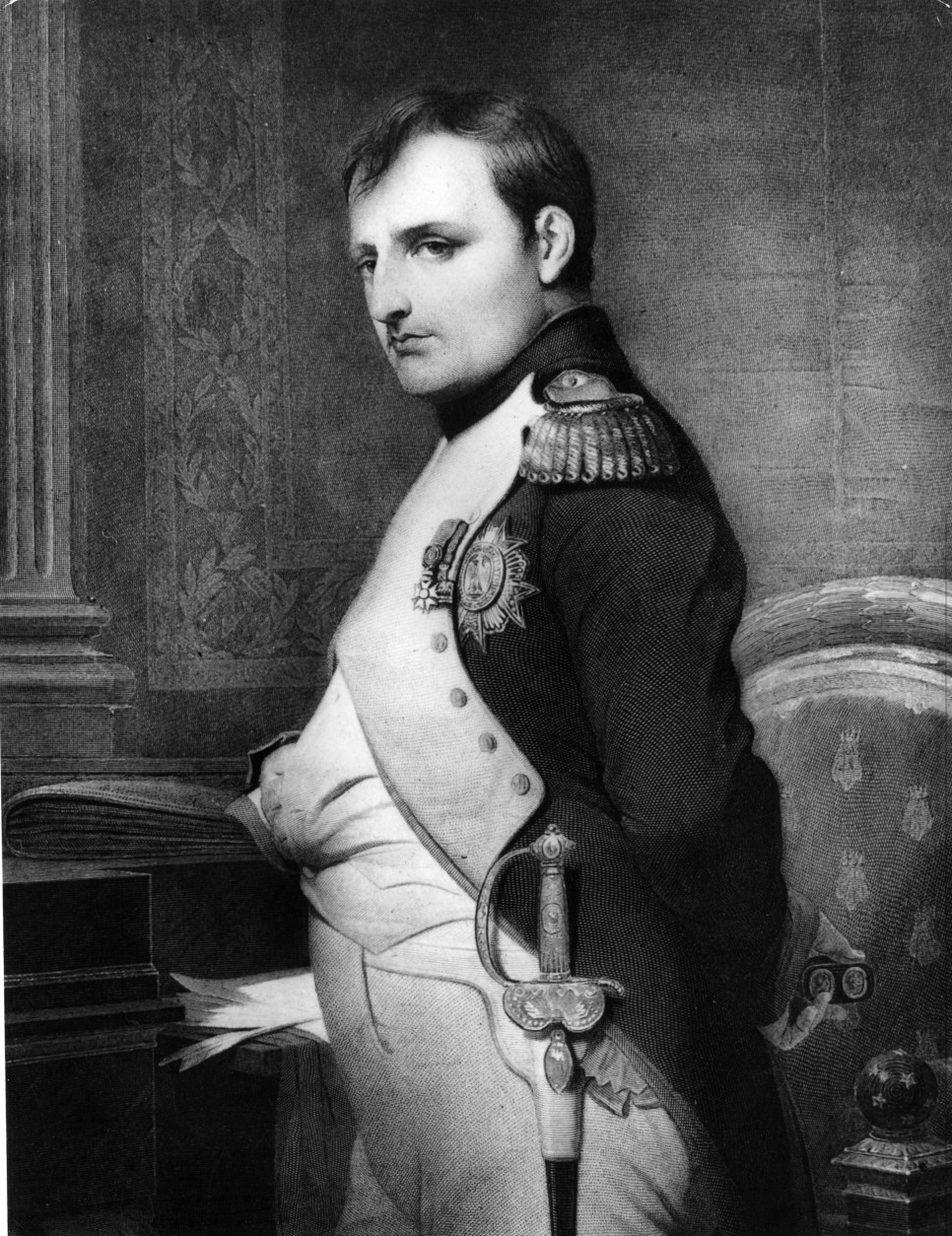 circa 1810:  Emperor Napoleon Bonaparte (1769 - 1821) in military uniform.  Original Publication: From a painting by Delaroche.  (Photo by Hulton Archive/Getty Images)