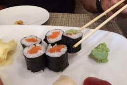 The wasabi should be added separately from the soy sauce. A dab on top is all you need. (WTOP/Rachel Nania)