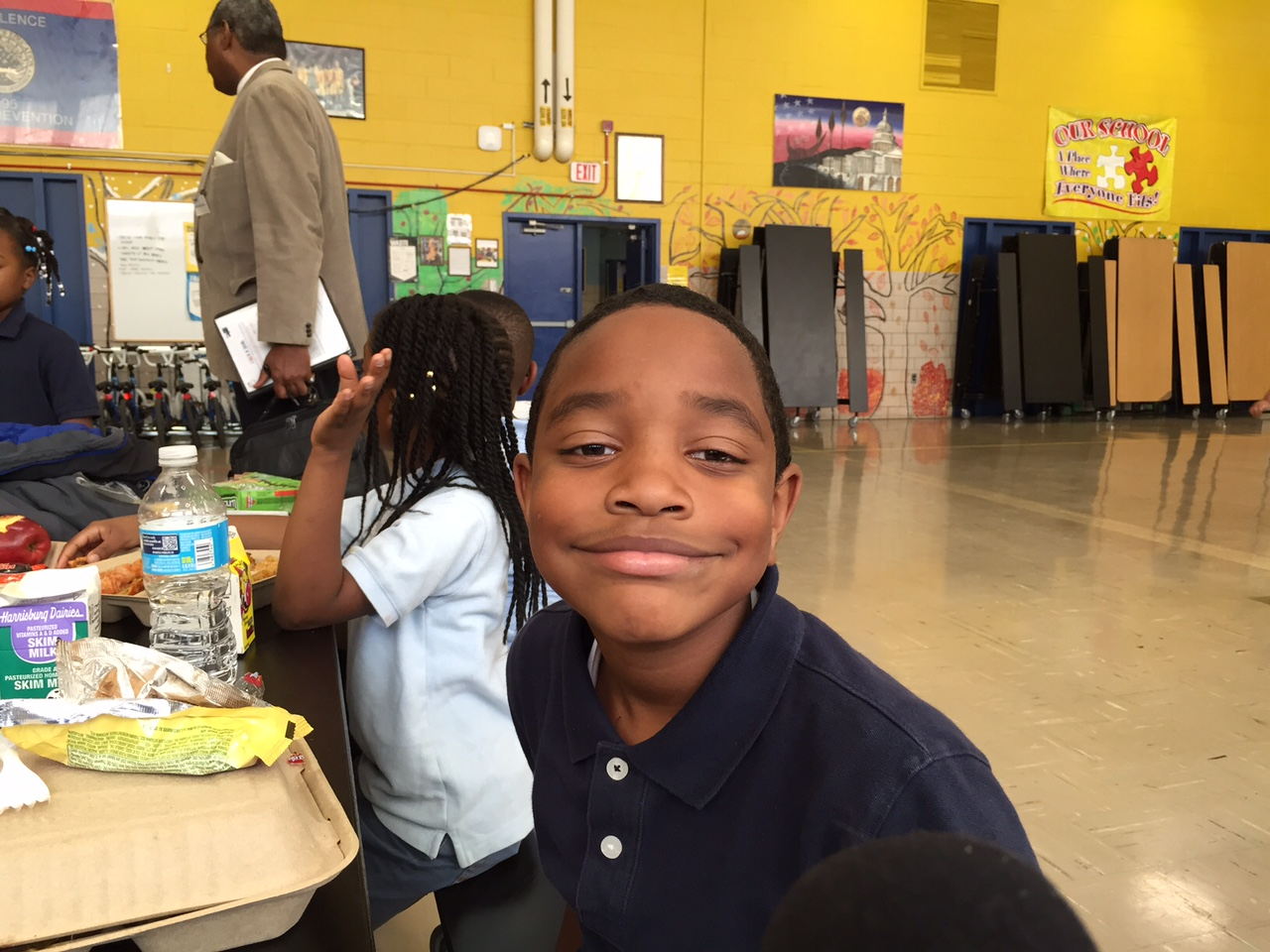 A CW Harris Elementary School student excited about the day's activities. (WTOP/Kate Ryan)