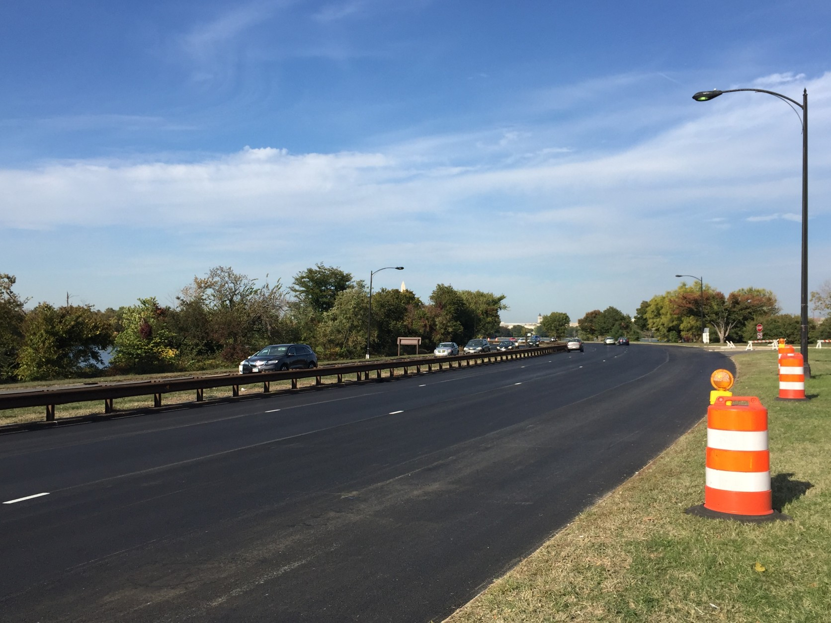 A smooth ride is ahead. A stretch of the GW Parkway north of Reagan National Airport will be finished soon. (WTOP/Andrew Mollenbeck)