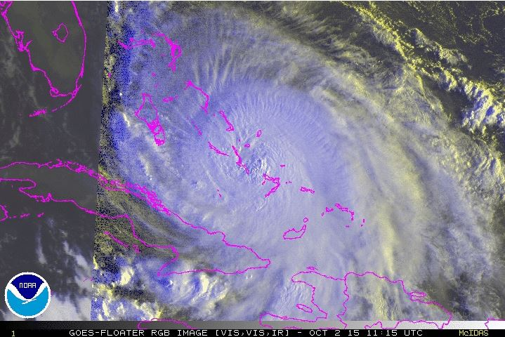 A satellite image of Hurricane Joaquin taken at about 8:15 a.m. Friday. (NOAA)