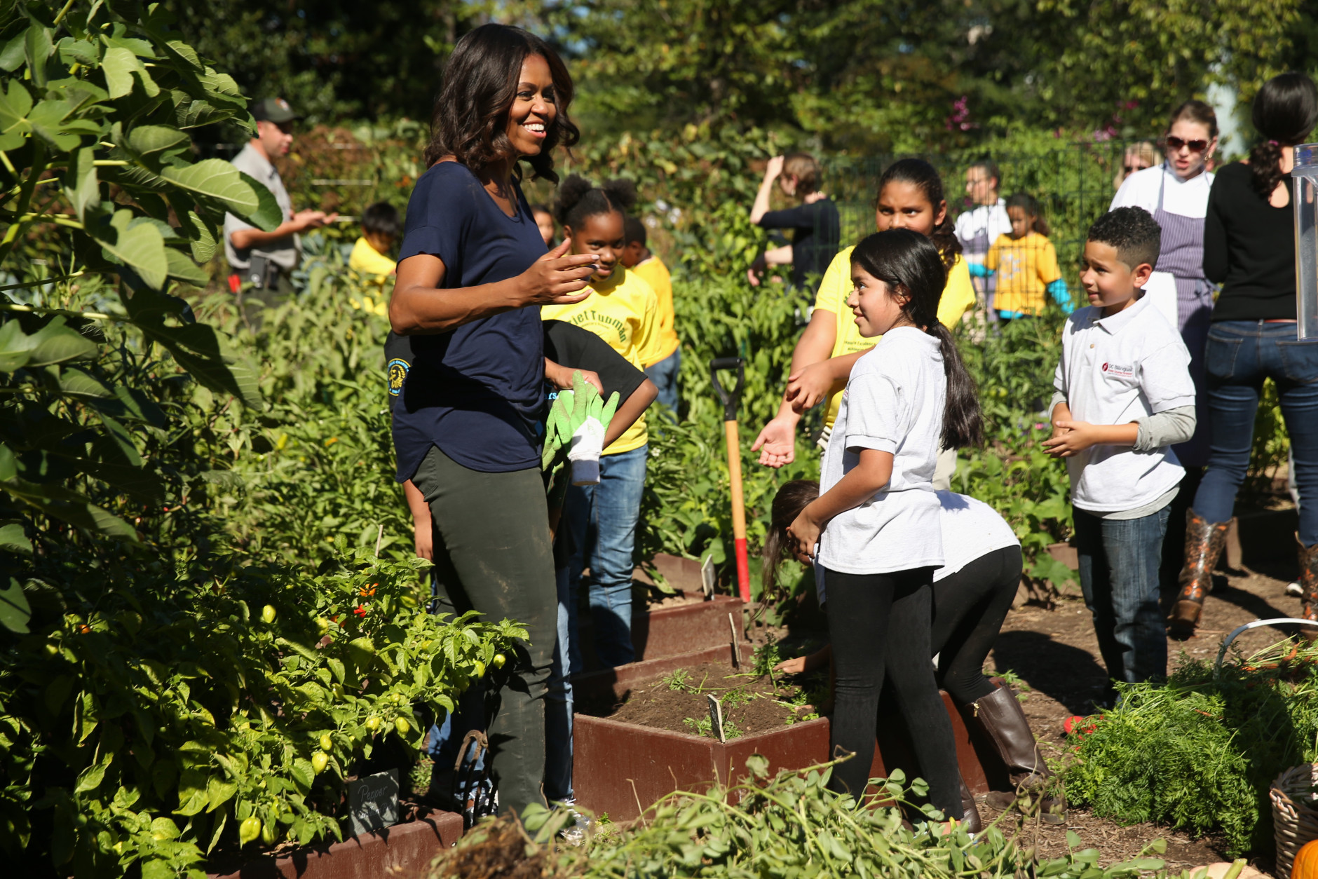 White House Kitchen Garden Students Help First Lady Harvest White House Garden Wtop