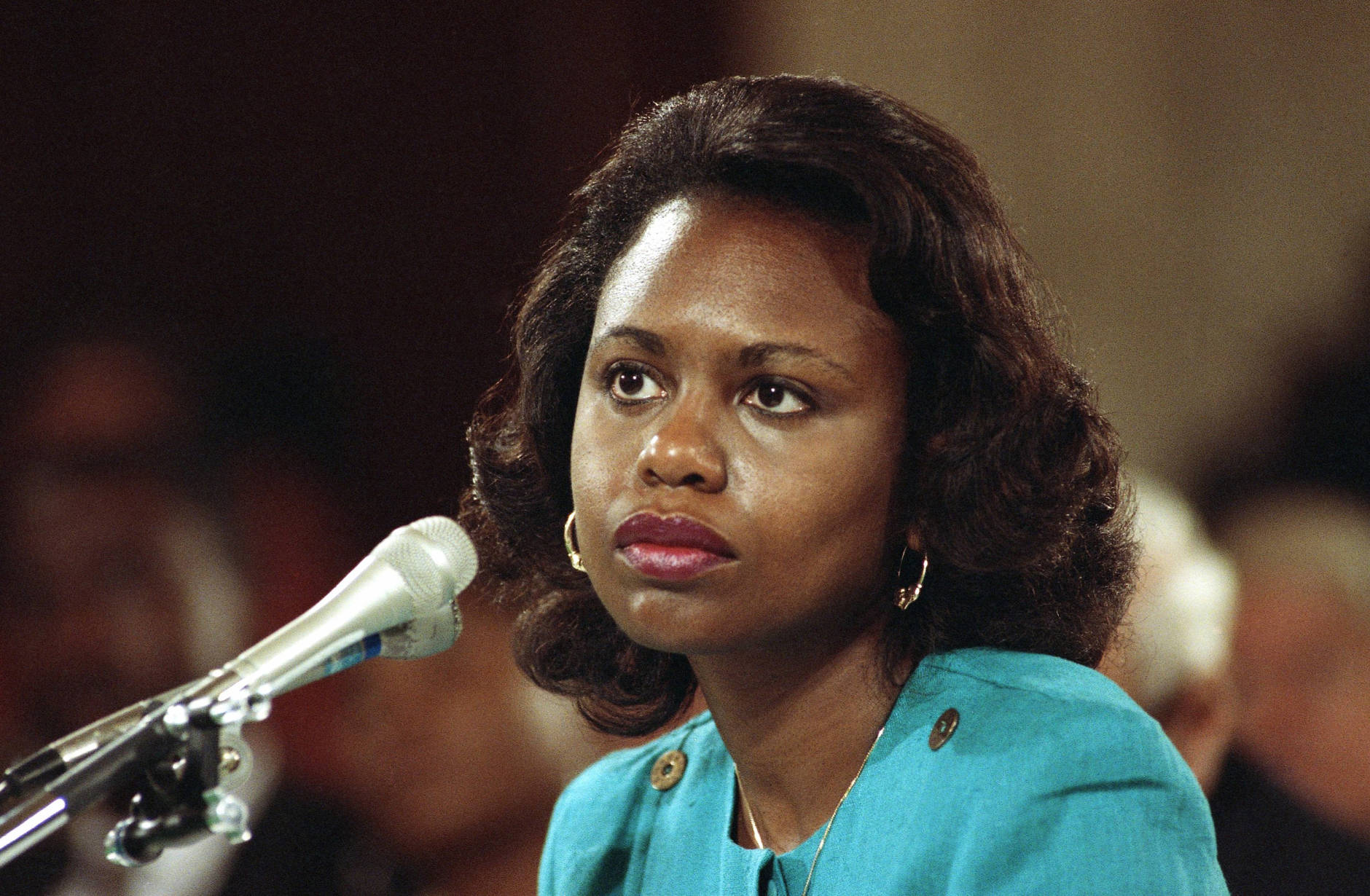 Head and shoulder shots of Anita Hill, University of Oklahoma Law Professor, who testified, that she was sexually harassed by Clarence Thomas. 1991 photo. (AP Photo)