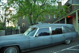 A Cadillac hearse is seen outside the Shocktober Haunted House in Leesburg, Virginia. (Courtesy Shannon Finney, www.shannonfinneyphotography.com)
