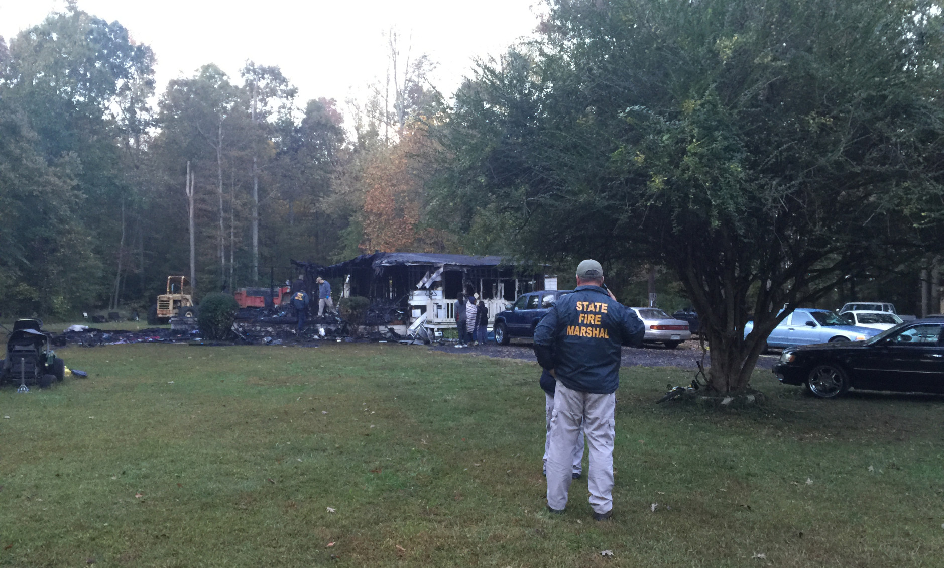 A grandmother and grandson died in a fire in Hughesville, Maryland Oct. 14, 2015. (WTOP/Kristi King)