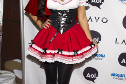 Kim Kardashian, dressed in a Little Red Riding Hood costume, arrives at Heidi Klum's Halloween Party in New York, Sunday, Oct. 31, 2010. (AP Photo/Charles Sykes)