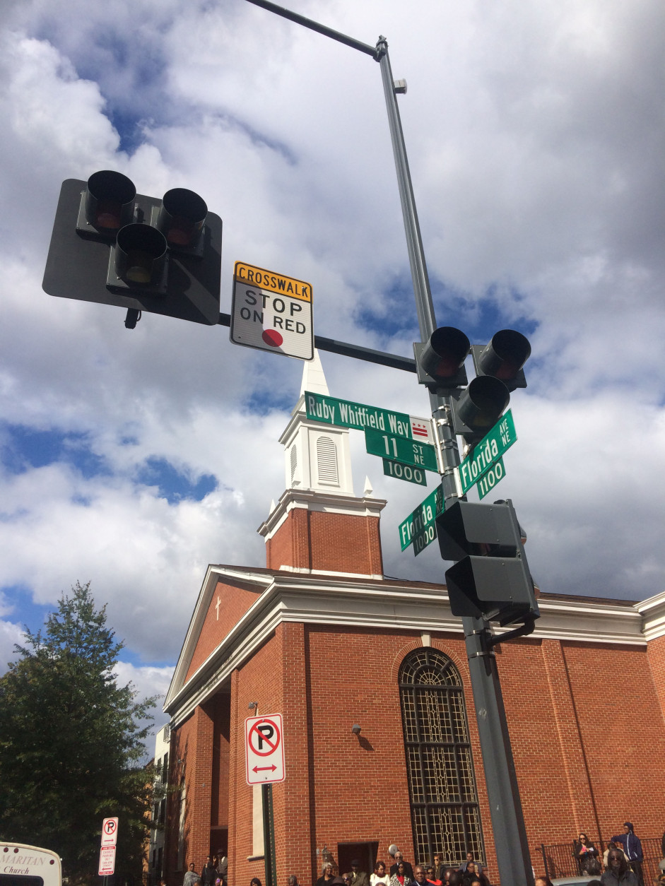 This new street sign, Ruby Whitfield Way, was unveiled on Sunday, Oct. 18, 2015. The street sign is named for Ruby Whitfield, who was struck and killed in 2013 while leaving New Samaritan Baptist Church. (WTOP/Dick Uliano)