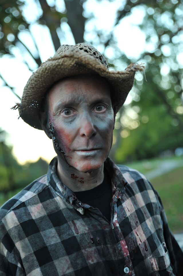 Volunteer builder George Pellicano is seen here in makeup, ready for Shocktober. (Courtesy Shannon Finney, www.shannonfinneyphotography.com)