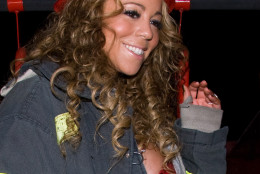 Mariah Carey arrives by firetruck to her Halloween party at Marquee,Thursday, Oct. 30, 2008, in New York. (AP Photo/Charles Sykes)