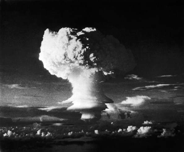 """In 1952, the United States exploded the first hydrogen bomb, code-named """"Ivy Mike,"""" at Enewetak (en-ih-WEE'-tahk) Atoll in the Marshall Islands.(Photo by Underwood Archives/Getty Images)"""