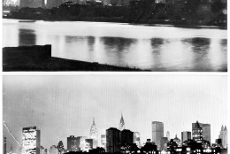 FILE - This Nov. 10, 1965, file photo, shows a combo wirephoto that was transmitted by The Associated Press to show the Manhattan skyline, photographed from the Queens borough of New York, in darkness on Nov. 9, 1965, top, during the great blackout and again shortly after the power came back on at 3:35 a.m., the next morning. The nation had never seen a power failure of such scope before, and in New York, the nation's communications capital, news organizations including The AP were stymied in finding out what happened and in getting the word out to the public. It was soon established that problems with the electrical grid caused the blackout, the first large-scale realization of infrastructure worries that would resurface in major blackouts in 1977 and again in 2003. (AP Photo/Marty Lederhandler, File)