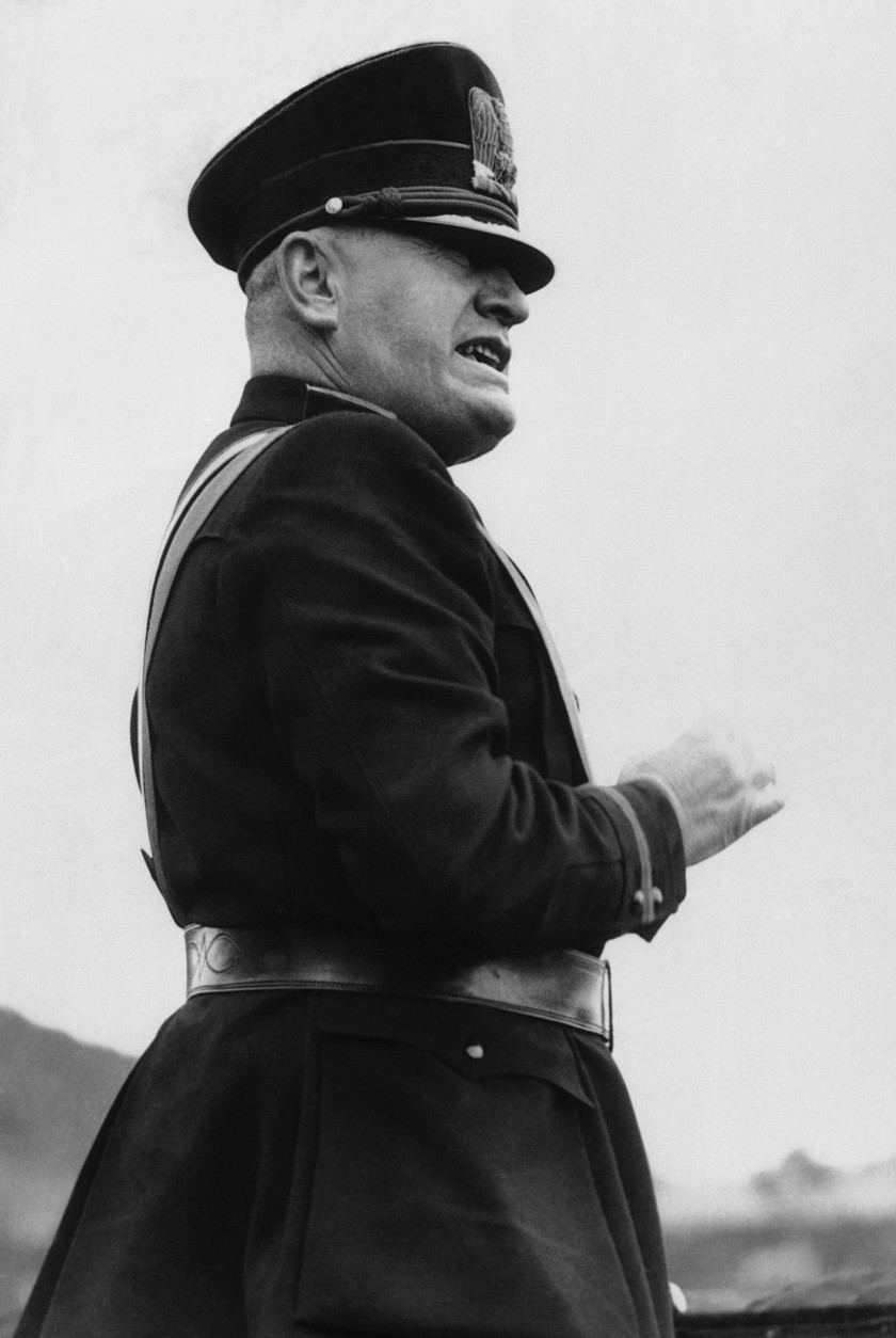 "In 1936, in a speech in Milan, Italy, Benito Mussolini described the alliance between his country and Nazi Germany as an ""axis"" running between Rome and Berlin.  (AP Photo)"