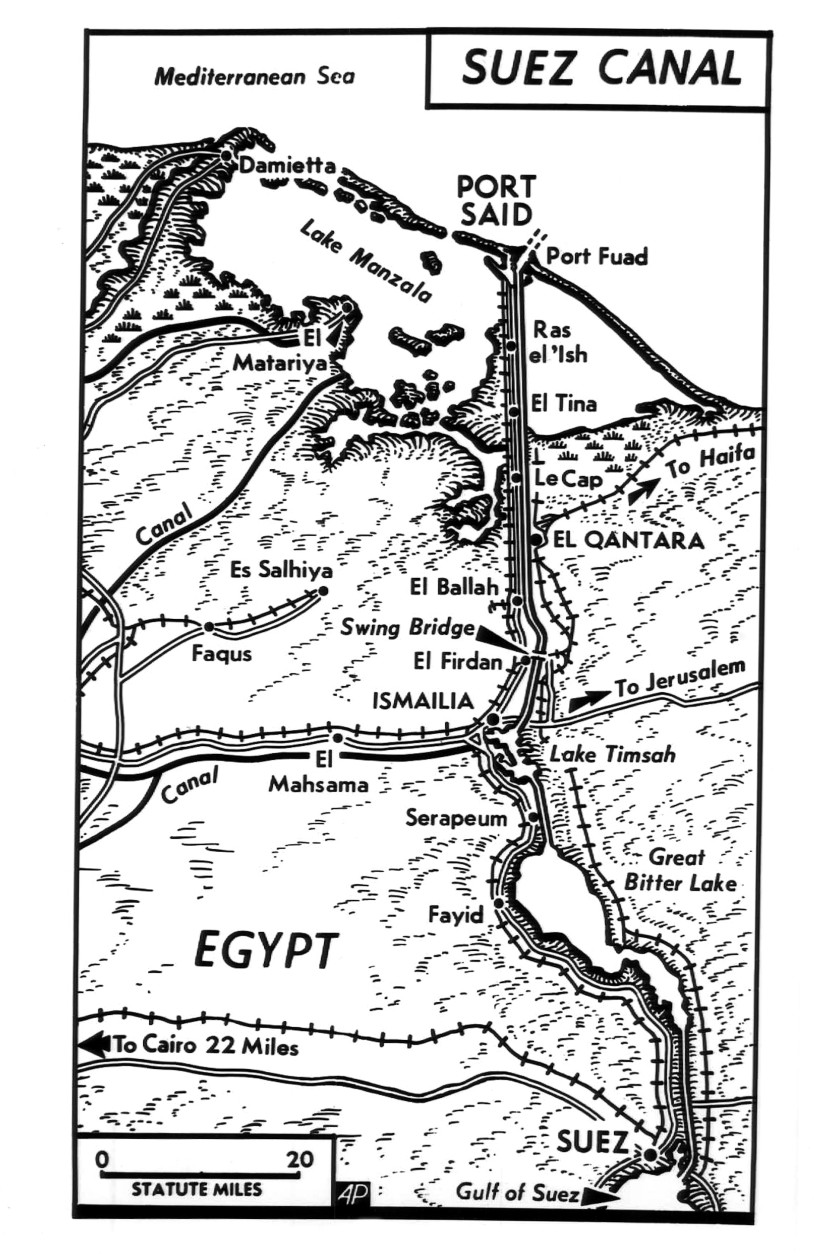 This is a map of the Suez Canal, the vital 103-mile waterway which President Nasser has taken under his control shown Sept. 16, 1956.  (AP Photo)