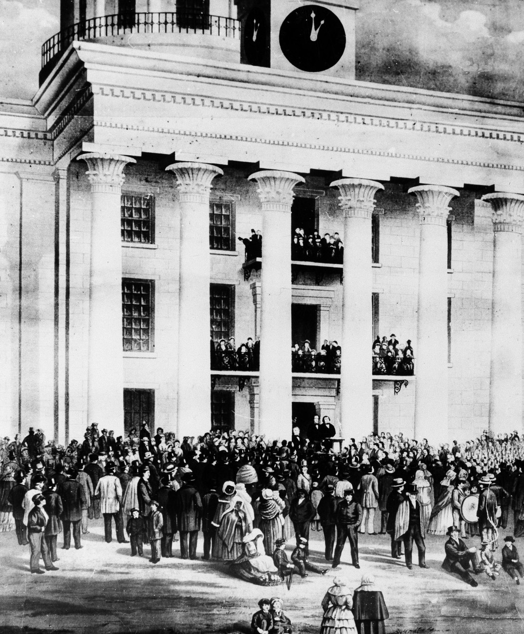 This was the scene during the inauguration of the President of the Confederate States of America, Jefferson Davis, Feb. 18, 1861, in Montgomery, Ala., painted by artist James Mamelon from a photograph taken on the spot and owned by Col. William C. Howell.  (AP Photo)
