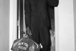 Walt Bellamy, formerly with the Baltimore Bullets, is shown arriving on Nov. 2, 1965 at his new team?s offices, the New York knickerbockers. The six-foot 11-inch basketball star was sixth in league scoring last season with 24.8 points per game. The former Indiana University all American was the NBA?s ?Rookie of the year? in 1961-62. In the trade, the Knicks sent three players and cash to the bullets for Bellamy. (AP Photo)