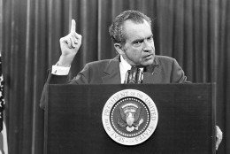 "President Richard Nixon speaks near Orlando, Fla. to the Associated Press Managing Editors annual meeting, Nov. 17, 1973.  Nixon told the APME ""I am not a crook."" (AP Photo)"