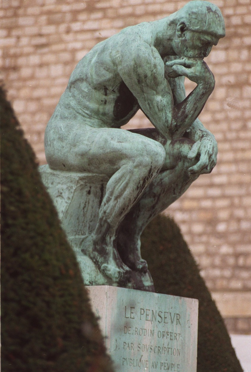 "Auguste Rodin's famed sculpture ""The Thinker"" is seen Dec.3,1992 at the Rodin Museum in Paris. The six-feet-tall work was to leave France for the dfirst time in 1993 to be centerpiece in a retrospective exhibit of Rodin's work in China.(AP photo/remy de la Maucviniere/stf)"
