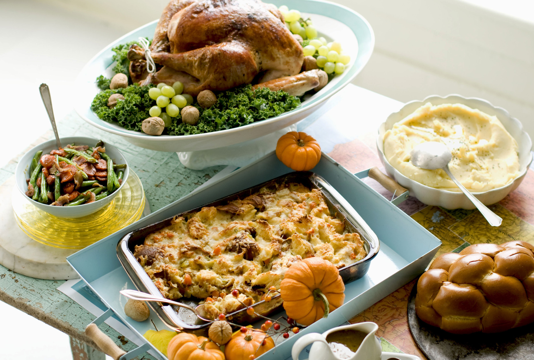 In this image taken on Oct. 2, 2012, plain Jane turkey and gravy, cheesy stuffing, buttery mashed potatoes, sweet and sour glazed carrots, and green beans are shown in Concord, N.H. (AP Photo/Matthew Mead)