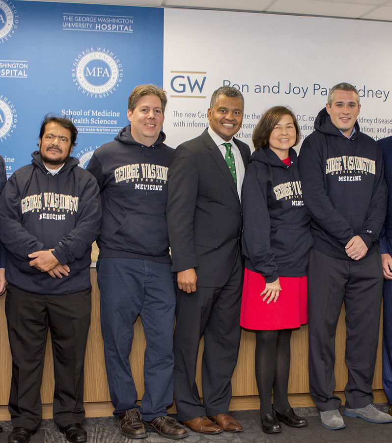 The group is pictured here, including Al Ahmari, DaNatalie, Dr. Melancon, Miller and Gray. Courtesy George Washington University School of Medicine and Health Sciences)