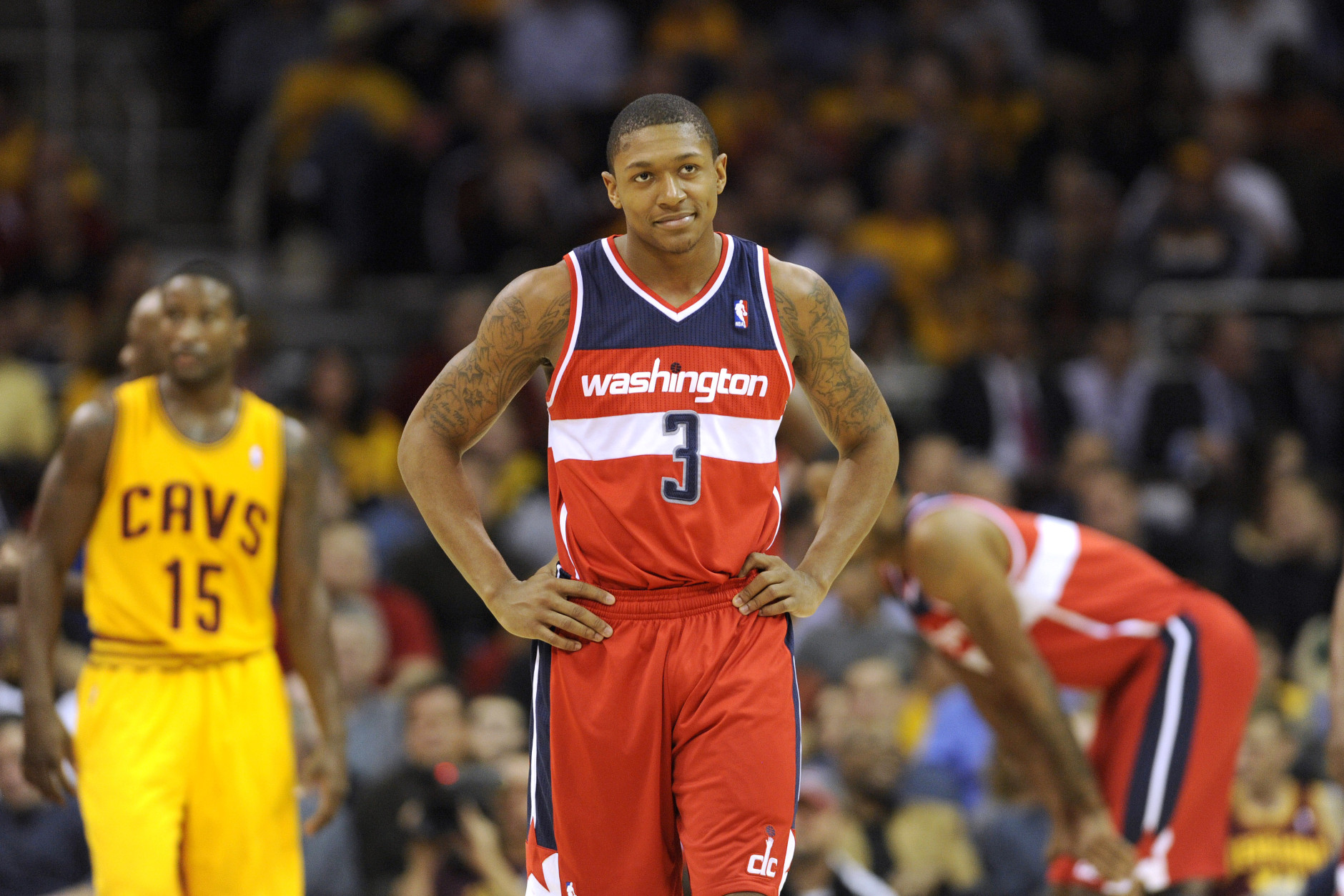 CLEVELAND, OH - OCTOBER 30: Bradley Beal #3 of the Washington Wizards reacts on the court during the game against the Cleveland Cavaliers at Quicken Loans Arena on October 30, 2012 in Cleveland, Ohio. The Cavaliers defeated the Wizards 94-84. NOTE TO USER: User expressly acknowledges and agrees that, by downloading and/or using this Photograph, user is consenting to the terms and conditions of the Getty Images License Agreement. (Photo by Jason Miller/Getty Images)