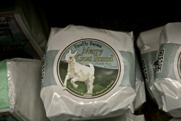 Merry Goat Round Cheese: This is the package you'll bring home when you buy from their shop in Garrett County, or at one of the many retailers who stock it now. Large chains like Whole Foods stock their cheeses, as do local specialty shops like Cheesetique in Alexandria and Dawson's Market in Rockville. (WTOP/Kate Ryan)