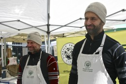 When you go to the farmer's market at Dupont Circle on Sunday mornings, you'll probably meet Michael Koch and Pablo Solanet of Firefly Farms, producers of locally made goat cheeses. (WTOP/Kate Ryan)