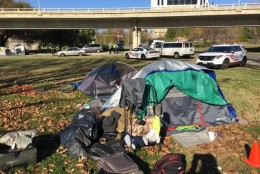 There's a long brewing standoff between D.C. officials and tenants of a homeless encampment along Rock Creek Parkway. On Monday, an official said the camp is illegal. Tenants aren't budging. (WTOP/Kristi King)