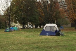 """""""About 12 new people have come in the last three days,"""" says one man who didn't give his name. """"The problem is that we don't have work and some are disabled."""" (WTOP/Andrew Mollenbeck)"""