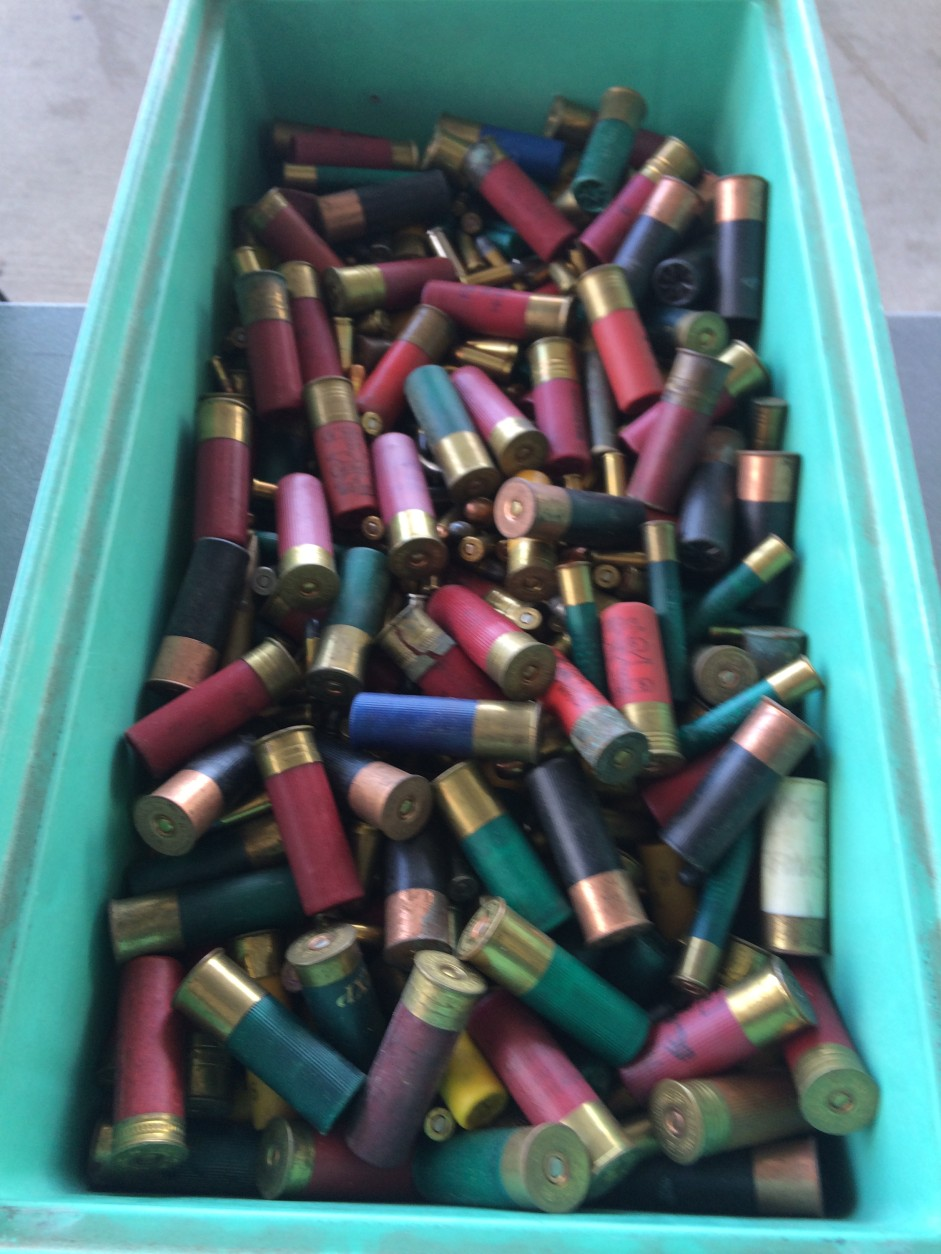 This tub of shotgun shells and other ammunition — including high capacity magazines — were turned in during a gun buy back event in Prince George's County, Md., on Saturday, Nov. 21, 2015. (WTOP/Dick Uliano)