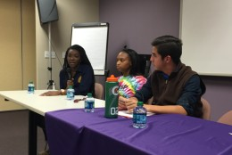 The three students on the panel were (left to right) Angie Nseliema and Aryana Jones, both seniors at Clarksburg High, and Nicolas Ballon, a senior at Walter Johnson High. (WTOP/Michelle Basch)