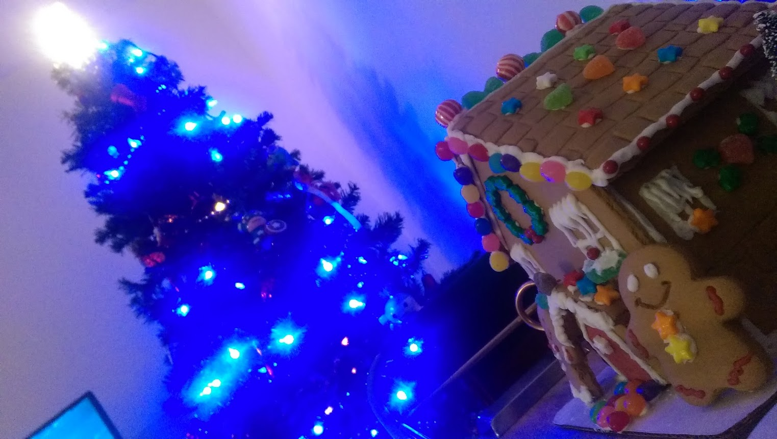 A view of the gingerbread house and Christmas tree displayed in the apartment of WTOP Digital Editor Ginger Whitaker. (Courtesy Mike Marks)