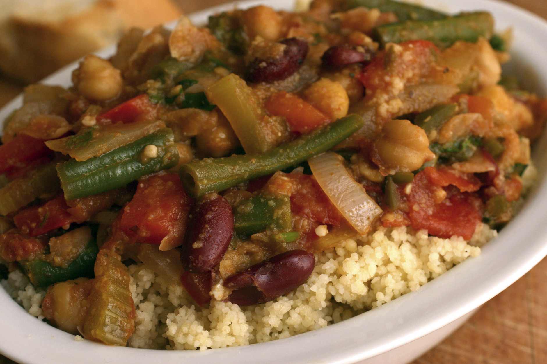 **FOR USE WITH AP LIFESTYLES**   Vegetable-bean Chili with Whole-wheat Couscous is seen in this Oct. 16, 2007 photo.  This dish comes together quickly and will hold nicely for 3 days or can be frozen for 3 months. Prepare the couscous fresh whenever you decide to serve this spicy dish.  (AP Photo/Larry Crowe)
