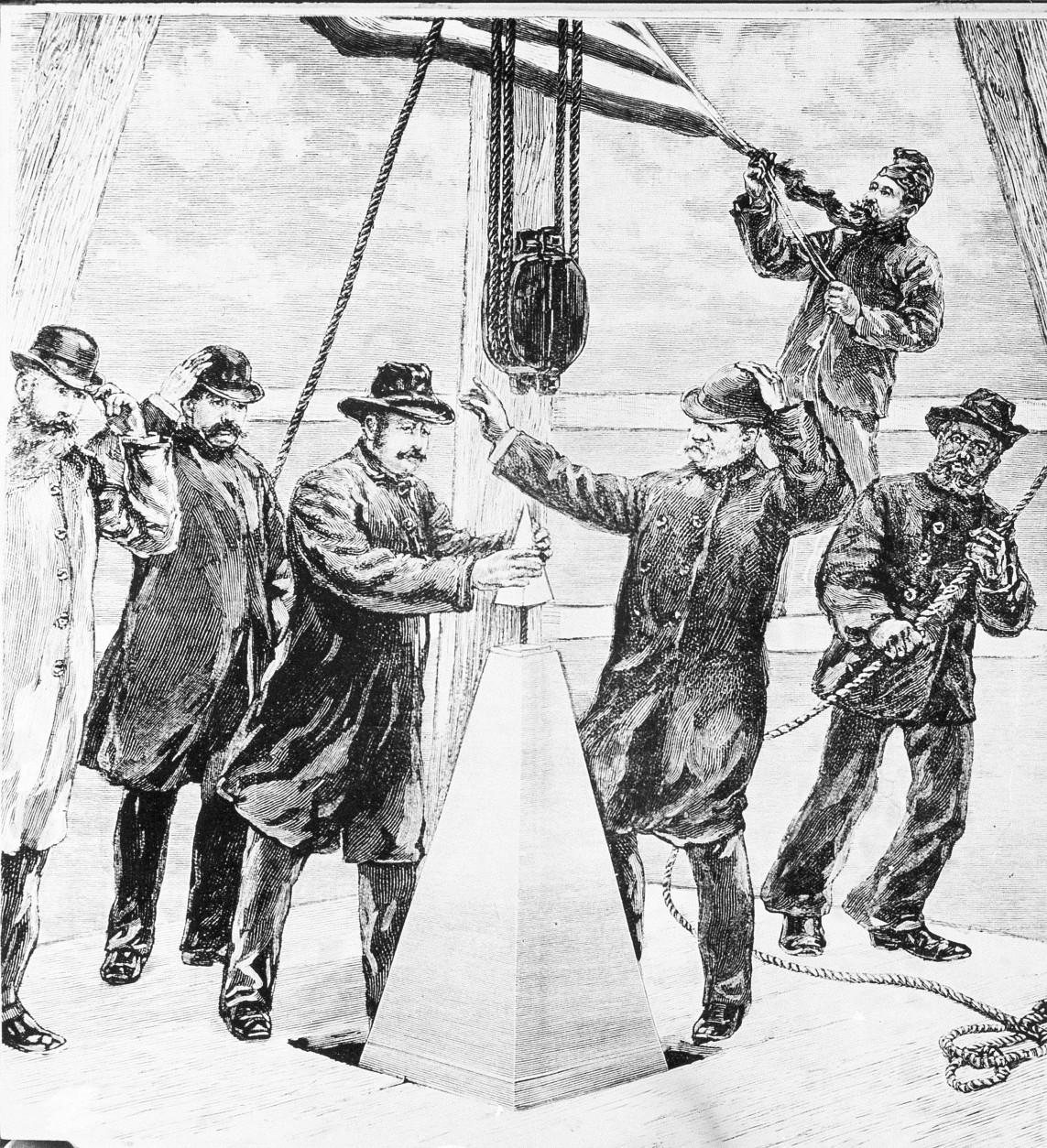 The capstone of the Washington Monument is set by workmen, 1884.  (AP Photo)