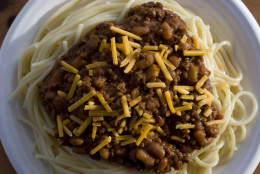 **FOR USE WITH AP LIFESTYLES**   Three-way Cincinnati Chili layers spaghetti, a quick cooking chili and cheese as seen here in this Tuesday, March 25, 2008 photo. The regional favorite is ordered by the number of toppings, with a four way having another topping like onion or beans.    (AP Photo/Larry Crowe)