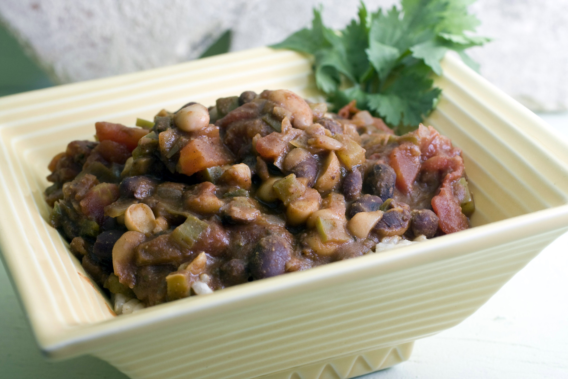 **FOR USE WITH AP LIFESTYLES**   Mixed Bean Chili and Brown Rice is seen in this Sunday, Dec. 7, 2008 photo.  Mixed Bean Chili and Brown Rice is not only a healthy meal, taking advantage of high fiber, low-fat beans, but is also economical while being filling. (AP Photo/Larry Crowe)