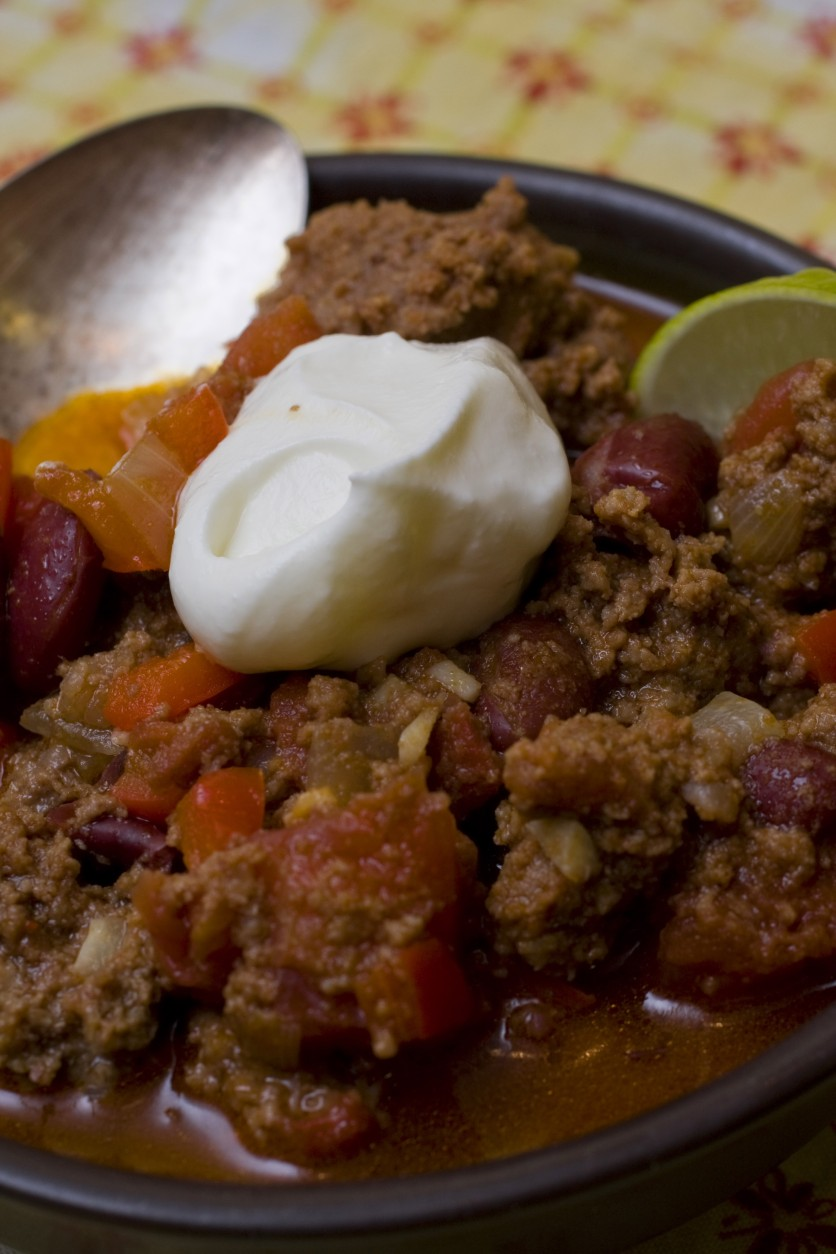 This photo taken July 12, 2009 shows bison chili. Wash down this Bison Chili with an intensly hoppy beer like Green Flash Brewing Co.'s West Coast IPA. (AP Photo/Larry Crowe)