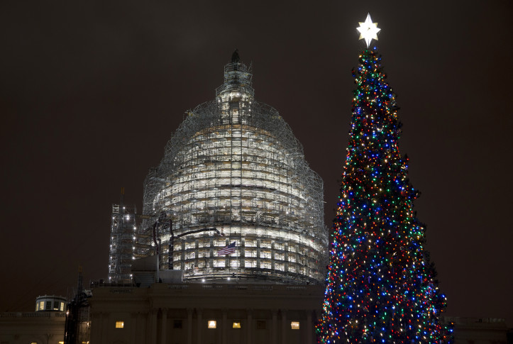 The U.S. Capitol Christmas tree is lit, after a ceremony on the West Front  of the Capitol in Washington, Wednesday, Dec. 2, 2015. - Lighting Of Capitol Christmas Tree WTOP