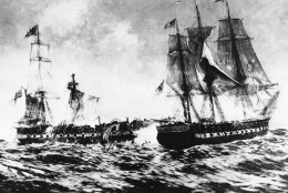 Pictorial representation of the War of 1812 naval battle between the U.S.S. Constitution and H.M.S. Java off Brazil  Dec. 29, 1812. Superior gunnery of the American reduced the Java to a complete wreck while the Constitution remained practically unhurt. (AP Photo)