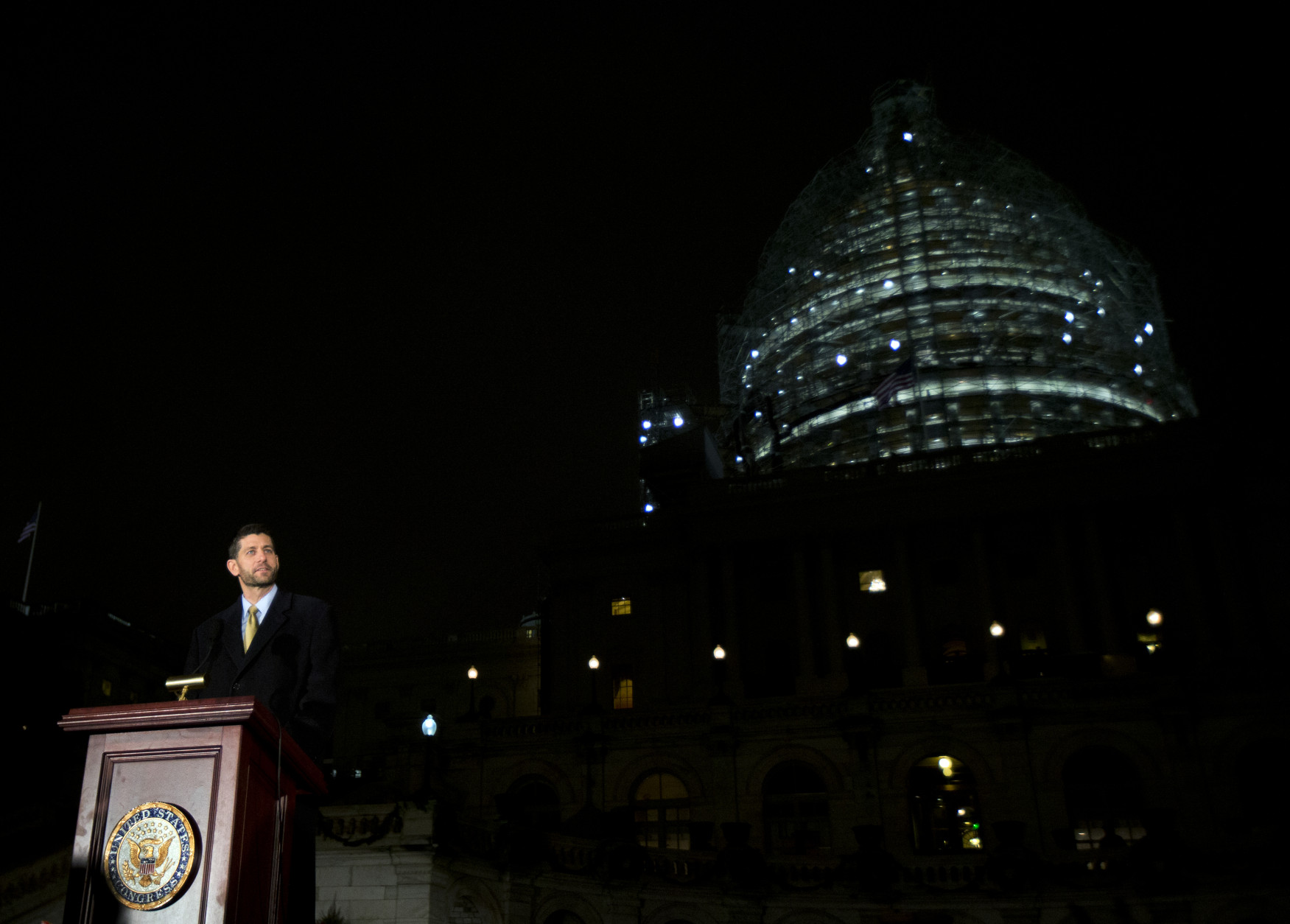 House Speaker Paul Ryan, R-Wis., speaks during the lighting of the U.S. Capitol Christmas tree, on the West Front of the Capitol in Washington, Wednesday, Dec. 2, 2015. The 2015 U.S. Capitol Christmas Tree is a 74 feet Lutz tree from Chugach National Forest in Alaska. (AP Photo/Manuel Balce Ceneta)
