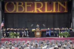First lady Michelle Obama speaks after receiving an Honorary Degree of Doctor of Humanities from Oberlin College, Monday, May 25, 2015, in Oberlin, Ohio. (AP Photo/Tony Dejak)