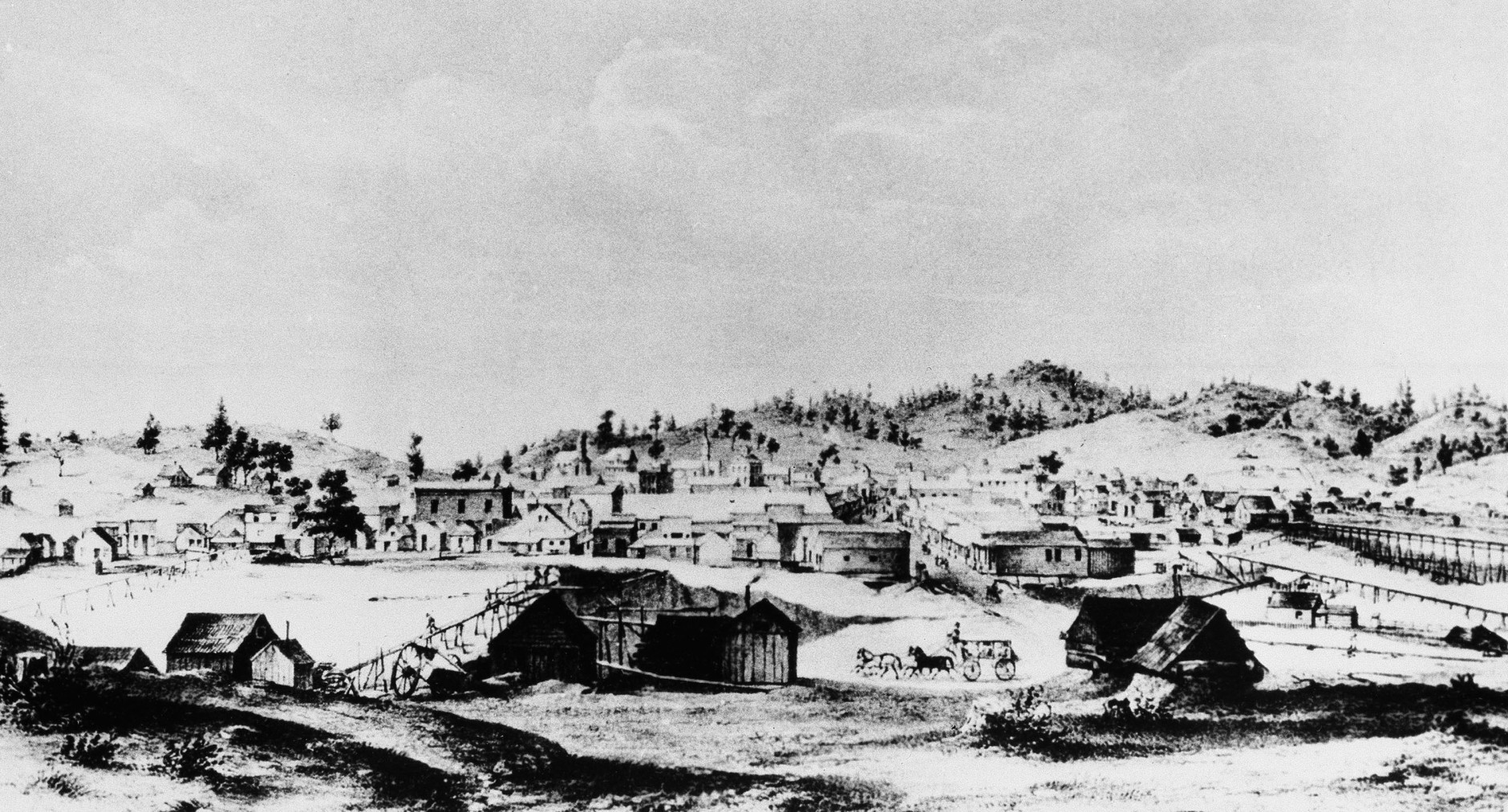 This lithograph shows a boomtown in the South of Californias Mother Lode country, 1856, Columbia, Calif. At that time this probably was the biggest town in California with 25,000 to 45,000 miners and tradesmen and was bidding strongly to be the State capital. Columbia was not far from Sutters Mill in Coloma where James Wilson Marshall, a young wheelwright, discovered the first gold. Gold was first discovered, Jan. 24, 1848. (AP Photo)