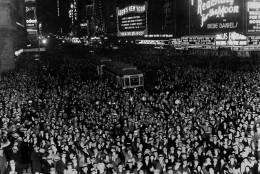New York City's Broadway looking north from Times Square, as thousand of revelers jammed the streets to usher in the New Year, Dec. 31, 1930. (AP Photo)