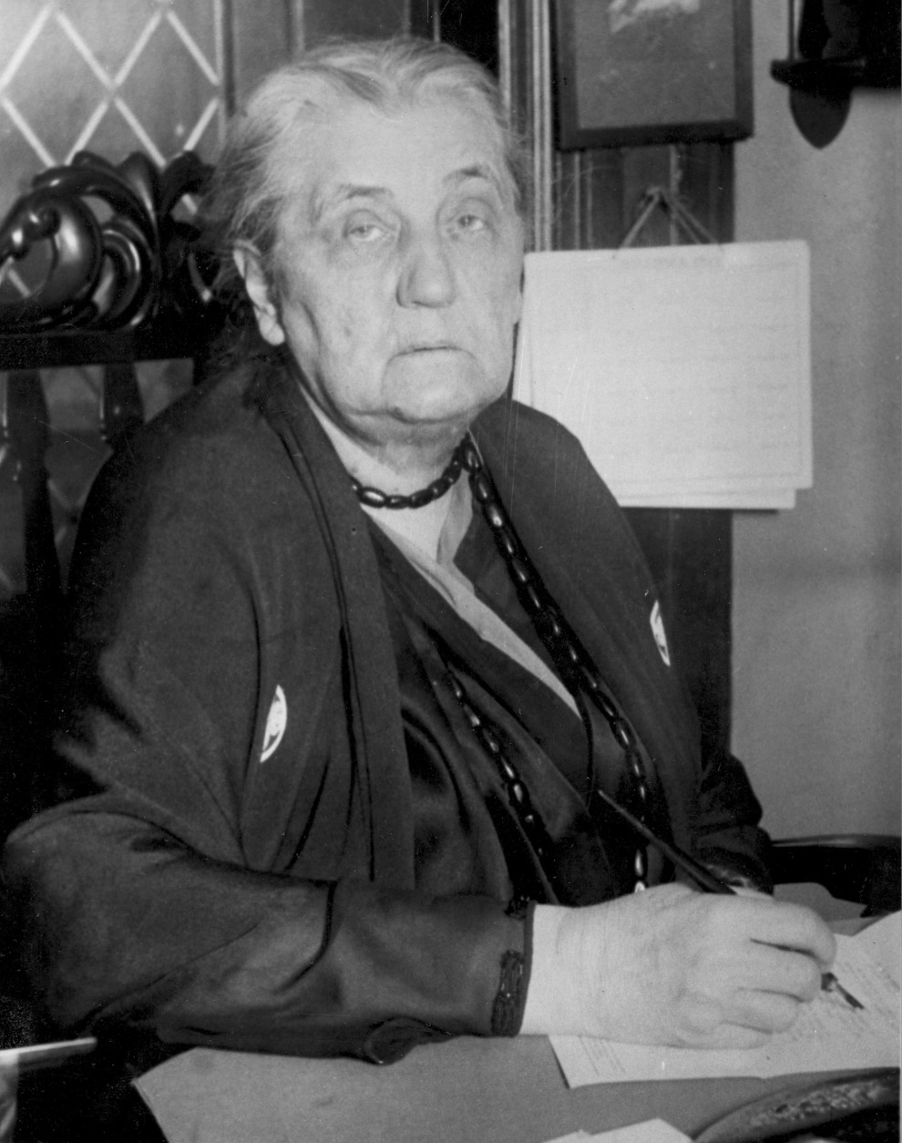 Jane Addams is shown at her desk in Hull House in Chicago, Ill., Dec. 9, 1931.  (AP Photo)